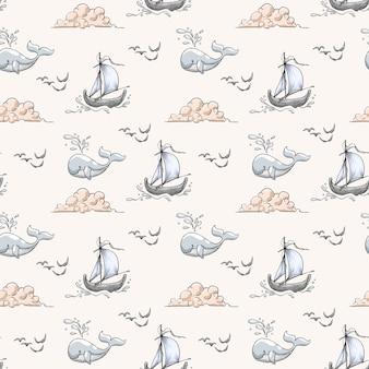 Modello senza cuciture di vita di mare disegnato a mano con balena, barca nuvola e uccello marino
