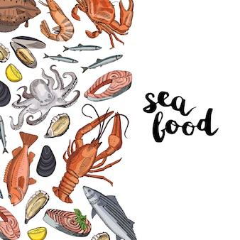 Elementi di frutti di mare disegnati a mano raccolti intorno al lettering