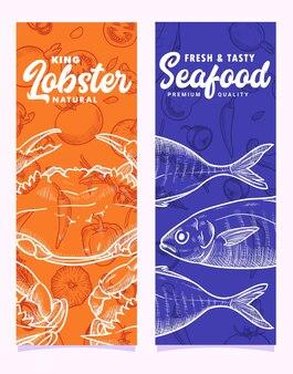 Modello di bandiera di illustrazione di pesce e aragosta di granchio reale disegnato a mano