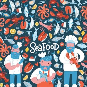 Disegno del modello dell'insegna dell'illustrazione del ristorante di pesce disegnato a mano per il menu pubblicizza...