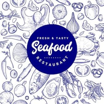 Disegno del modello dell'insegna dell'illustrazione del ristorante di pesce disegnato a mano