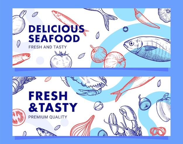 Modello di banner illustrazione ristorante di pesce disegnato a mano