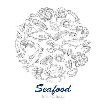 Frutti di mare disegnati a mano