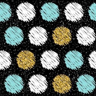 Fondo senza cuciture disegnato a mano. oro, blu, bianco rotondo. modello rotondo astratto per biglietto di natale, invito di capodanno, album di nozze, libro, album di ritagli, tessuto, indumento, t-shirt. texture oro