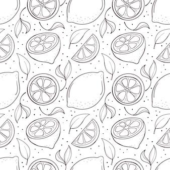 Fondo senza cuciture disegnato a mano con limoni e foglie.