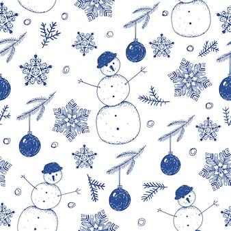 Reticolo di inverno di natale senza giunte disegnato a mano, sfondo. fiocchi di neve, pupazzi di neve, palla, illustrazione di rami