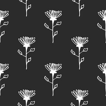 Reticolo floreale senza giunte disegnato a mano. modello semplice in bianco e nero. illustrazione vettoriale di scarabocchio.