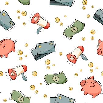 Reticolo senza giunte disegnato a mano di elementi di affari e finanza