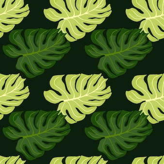 Modello senza cuciture disegnato a mano nei toni del verde con stampa di forme di monstera doodle. opere d'arte della natura.