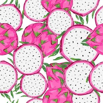 Modello senza cuciture disegnato a mano pitaya fruit stampa per tessuti estivi