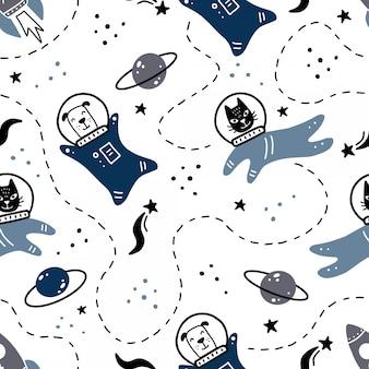 Modello senza cuciture disegnato a mano di spazio con stella, cometa, pianeta, gatto, elemento astronauta cane.