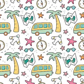 Reticolo senza giunte disegnato a mano degli elementi di vacanza estiva di viaggio
