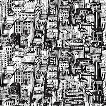 Reticolo senza giunte disegnato a mano con la grande città di new york. illustrazione d'epoca con architettura di new york, grattacieli, megalopoli, edifici, in centro.