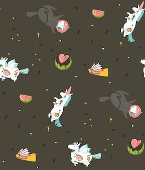 Modello senza cuciture disegnato a mano con gli unicorni e i pianeti del cosmonauta in universo isolato su fondo nero
