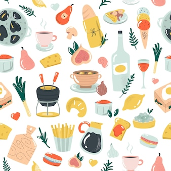 Reticolo senza giunte disegnato a mano con delizioso cibo francese. illustrazione vettoriale per tessuti, indumenti da cucina, striscioni e altri scopi