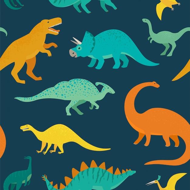 Reticolo senza giunte disegnato a mano con i dinosauri. perfetto per bambini in tessuto, tessuto, carta da parati per bambini.