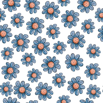 Reticolo senza giunte disegnato a mano con scarabocchi. fiori blu, margherite.