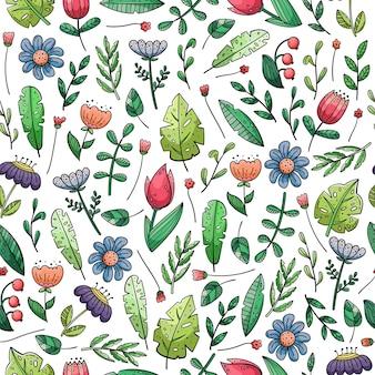 Reticolo senza giunte disegnato a mano con scarabocchi. fiori e piante.