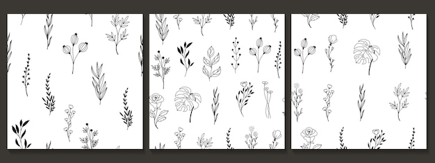 Reticolo senza giunte disegnato a mano con fiori e foglie