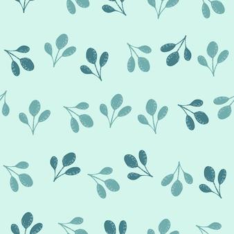 Reticolo senza giunte disegnato a mano con sagome astratte fogliame. elementi foglia blu su sfondo pastello. illustrazione di riserva. disegno vettoriale per tessuti, tessuti, confezioni regalo, sfondi.