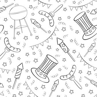 Modello senza cuciture disegnato a mano con roba del giorno dell'indipendenza in stile doodle