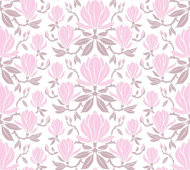 Modello senza cuciture disegnato a mano con fiori di magnolia.
