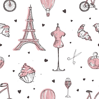 Reticolo senza giunte disegnato a mano con simboli di parigi e francia