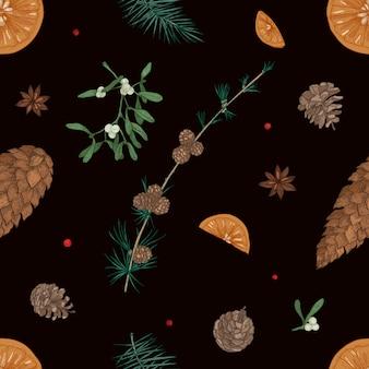 Reticolo senza giunte disegnato a mano con parti di piante di natale sul nero