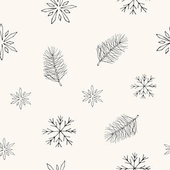 Modello senza cuciture disegnato a mano con pini e fiocchi di neve