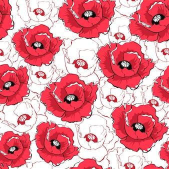 Modello senza cuciture disegnato a mano con fiori di papavero rosso