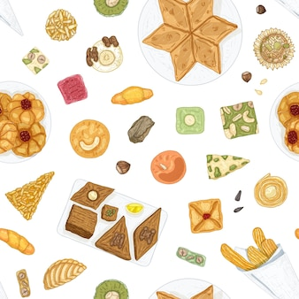 Reticolo senza giunte disegnato a mano con dolci orientali tradizionali o deliziosa pasticceria su priorità bassa bianca