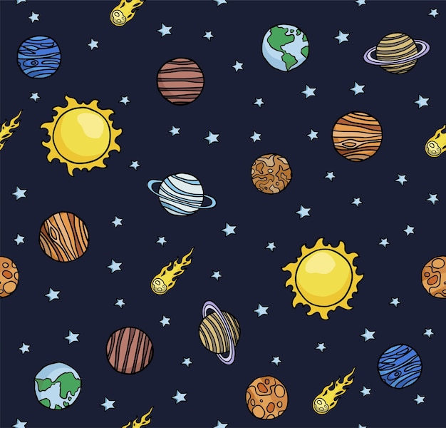 Sfondo di pianeti senza soluzione di continuità disegnati a mano