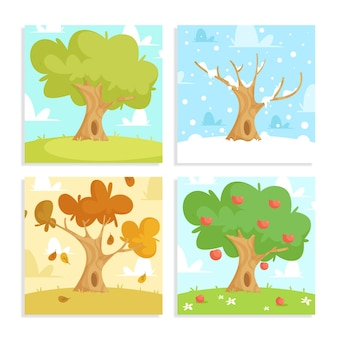 Collezione di stagioni disegnate a mano