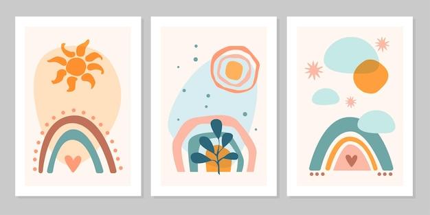 Poster boho astratto set disegnato a mano con arcobaleno, sole, luna, stella, cuore, pianta, isolato su sfondo beige. illustrazione piana di vettore. design per motivo, logo, poster, invito, biglietto di auguri