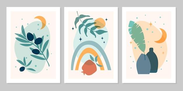 Poster boho astratto set disegnato a mano con arcobaleno, sole, luna, stella, vaso, pianta, isolato su sfondo beige. illustrazione piana di vettore. design per motivo, logo, poster, invito, biglietto di auguri