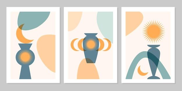 Poster boho astratto set disegnato a mano con foglia tropicale, sole, luna e forma isolato su sfondo beige. illustrazione piana di vettore. design per motivo, logo, poster, invito, biglietto di auguri