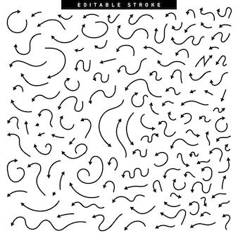 Insieme disegnato a mano di elementi freccia in stile doodle. illustrazione vettoriale di tratto modificabile