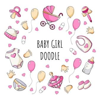 Insieme disegnato a mano delle icone degli elementi del bambino in stile doodle