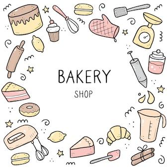 Insieme disegnato a mano di strumenti di cottura e cottura, mixer, torta, cucchiaio, cupcake, scala. stile di schizzo di doodle. illustrazione per telaio, poster, banner, menu, ricettario, pasticceria, design del sito di panetteria.