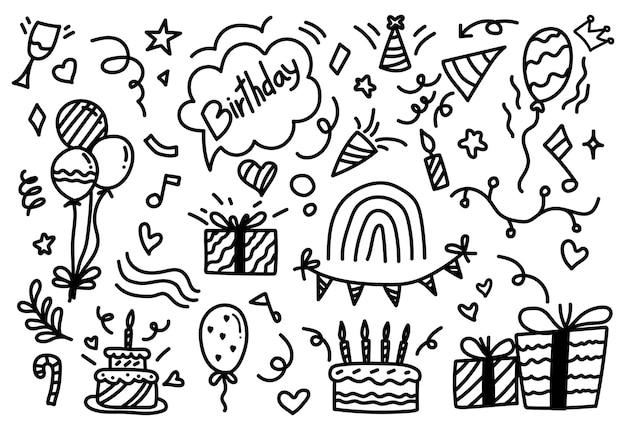 Insieme disegnato a mano di compleanno.