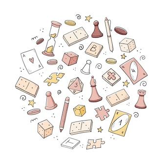 Insieme disegnato a mano di elementi di gioco da tavolo, carte, scacchi, clessidra, patatine, dadi, domino. stile di schizzo di doodle.
