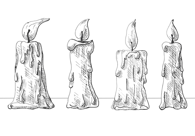 Insieme disegnato a mano di candele accese. illustrazione vettoriale di uno stile di schizzo.