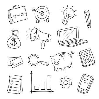 Insieme disegnato a mano di elementi di affari e finanza, moneta, calcolatrice, salvadanaio, soldi.