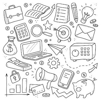 Insieme disegnato a mano di elementi di affari e finanza