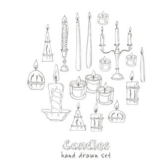 Set di candele disegnate a mano illustrazione