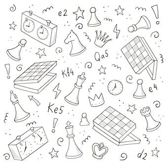 Insieme disegnato a mano di elementi del gioco di scacchi dei cartoni animati. stile di schizzo scarabocchio.
