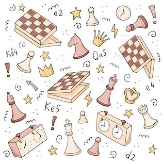 Insieme disegnato a mano di elementi del gioco di scacchi dei cartoni animati