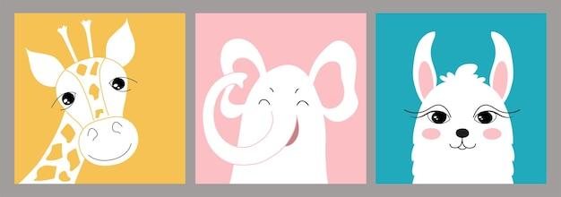 Insieme disegnato a mano di illustrazioni creative per bambini in stile piatto minimal con giraffa, elefante e lama. arte della parete con simpatici animali. per una cartolina, un poster, una decorazione per la cameretta dei bambini.
