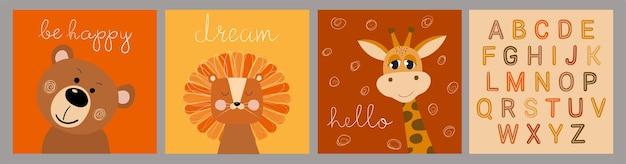 Insieme disegnato a mano di illustrazioni per bambini in stile piatto con giraffa leone orso e alfabeto inglese