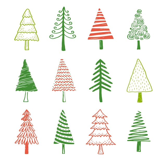 Insieme disegnato a mano di albero di natale e pino con forme diverse. tagliare l'illustrazione vettoriale isolata per il tuo natale, saluto il design della bandiera. stile di schizzo di scarabocchio. elemento albero disegnato da pennello-penna.